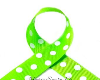 Apple Green with White Polka Dots 7/8 inch Polka Dot Grosgrain - Polka Dot Ribbon, Polka Dot Hair Bow, Polka Dot Bow, Ribbon By The Yard