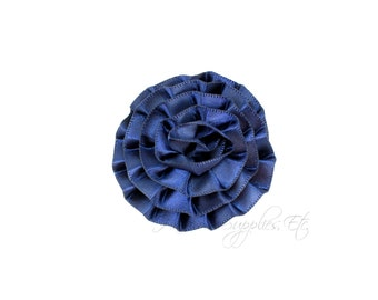 Navy Rose Ruffle Silk Flowers 2 inch - Navy Flowers, Lime Hair Flowers, Navy Silk Flower, Navy Flowers For Hair, Blue Hair Accessories