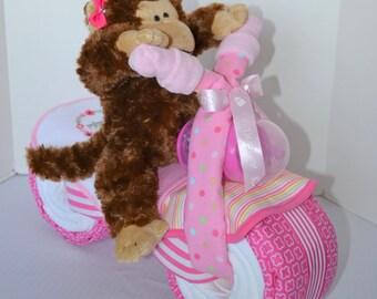 Motorcycle  Diaper Cake,  Monkey, Baby Shower Gift, Centerpiece, Baby Cake,  Baby Girl Gift, New Baby