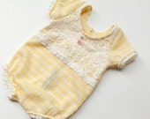 newborn girl romper with lace detail (Madelyn) - photography prop - cream, yellow, lace, ivory, stripes, pink, buttons