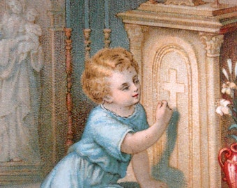 Vintage French Holy Card of Child Knocking on Tabernacle Door