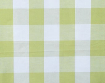 Lime Green And Ivory Gingham Checks Cotton Fabric By The Yard,Upholstery Fabric,Drapery Fabric,Shower Curtain Fabric,Wholesale Fabric