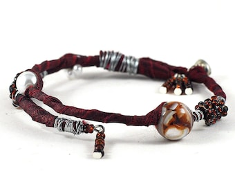 Fabric and Wire Wrap Beaded Bracelet Marsala and White on Memory Wire by DeeDeeDeesigns