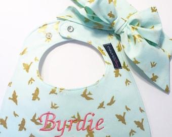 Baby Girl Gift Set - Metallic Gold Birds in Mint Green - Gold Metallic - Monogrammed Baby Bib Baby Shower Gift - Fabric Bow Headband