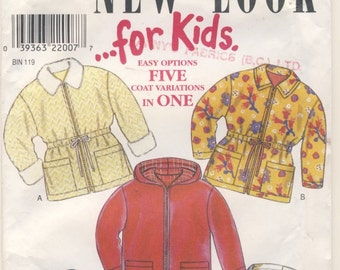 New Look 6797 For KIDS Five Coat Variations in Multi Sizes Childs Age 3 - 4 -  5 - 6 - 7 - 8
