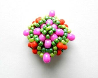 Trinket - Pink, Green, and Orange Handwoven Brooch
