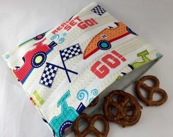 Reusable Snack Bag - Reusable Baggie - Race Car Snack Bag - Fabric Snack Bag - Reusable Fabric Snack Bag - Racing Cars