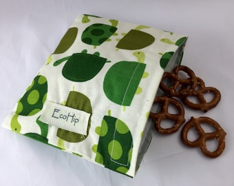 Reusable Snack Bag - Reusable Baggie - Turle Snack Bag - Fabric Snack Bag - Reusable Fabric Snack Bag - Urban Zoologie Turtles Grass