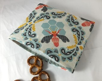 Reusable Snack Bag - Reusable Baggie - Bumble Bee Snack Bag - Fabric Snack Bag - Reusable Fabric Snack Bag - Honey Orchard Bumble Bee Blue