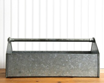 Vintage Galvanized Metal Carrier Tool Box Caddy