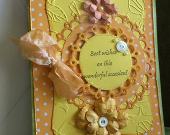 Birthday card shabby chic best wishes on this special occasion flower handmade card