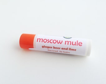 Moscow Mule cocktail lip balm - ginger beer and lime flavored lip balm - avocado oil and cocoa butter natural lip balm