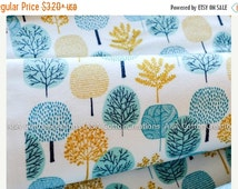 ON SALE ORGANIC Flannel Cotton Fabric, Turquoise Forest print, First Light Collection, Cloud9,Choose size and quantity for longer cut
