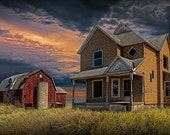 Abandoned West Michigan Farm House with Red Barn at Sunset No.22816 A Fine Art Agricultural Landscape Photograph