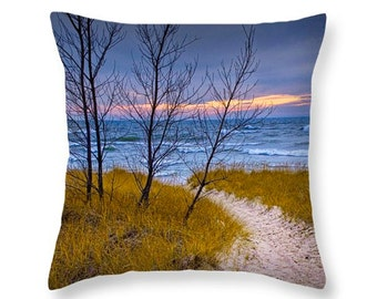 Beach Sunset in Autumn by Ottawa Beach on Lake Michigan in Holland Michigan No.0028 decorative novelty pillow Home Décor cushion cover