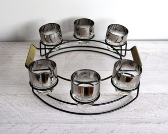 Vintage Barware Set, Silver Ombre Glasses, Rocks Glass, Mad Men Bar Cocktail Caddy, 1960s