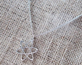 Atom Symbol Silver Necklace ~ Science Chemistry Geek Nerd