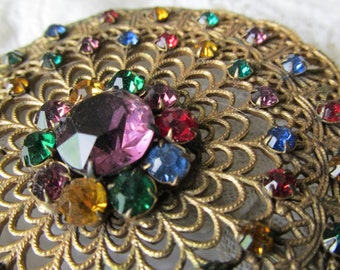 Large Ornate Antique Bohemian Filigree Sash Brooch with Multicolored Rhinestones circa 1910-1930