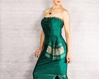 60s Blue Metallic Plaid Audrey Dress///size medium