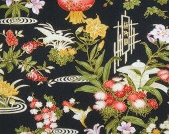 ON SALE Lotus Asian with Metallic Gold Print Cotton Fabric--One Yard