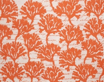 ON SALE Coral on White Coral Print Pure Cotton Fabric--One Yard