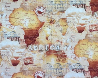 Amazing Sepia Tone Maps of Africa Print Pure Cotton Fabric--By the Yard