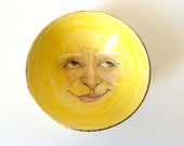 Sun Bowl, Sunshine Man in Bright Yellow with Gold Leaf, Porcelain Bowl of the Sun, Wall Hanging Bowl with Hand Drawn Face of the Sun