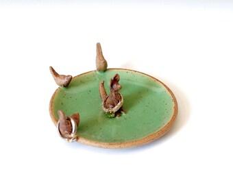 Desert Fox Ring Dish, Rustic Ring Dish, Stoneware Ceramics and Pottery, Hand made Ring Dish