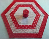 Valentine Hexagon Patchwork Quilted Table Topper - Centerpiece - Reversible - 22.5 x 20 inches Valentine Decor - Kitchen table decor