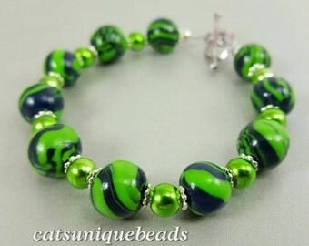 Seattle team bead bracelet Blue and green jewelry Jewelry fan bracelet Seattle Gift Sports jewelry sports fan