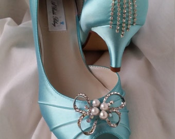 Blue Wedding Shoes Wedding Shoes Crystal and Pearl Fancy Bow Design Peep Toe Wedding Shoes Blue Bridal Shoes Additional Colors