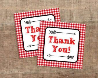 Red Favor Tags, Red Gingham BBQ Thank You Tags, Shower, Party Favor Tags, diy Printable, INSTANT DOWNLOAD