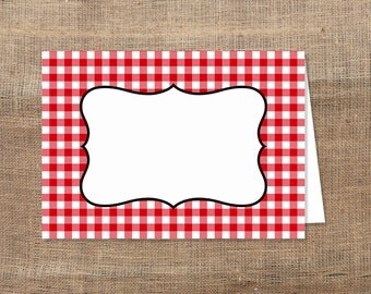 Food Tent Cards, Red Check Food Labels, BBQ, Picnic, Blank Shower Place Cards, diy Printable, INSTANT DOWNLOAD