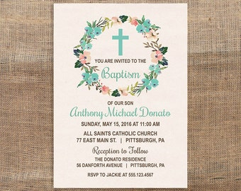 Baptism Invitation, Baby Boy Baptism Invite, Christian Baptism Invite, Boy Christening, DIY PRINTABLE
