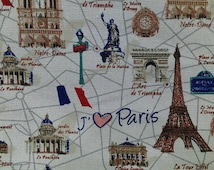 """I love Paris - 3 colors - 1 yard - cotton linen, paris fabric,Eiffel Tower,Notre Dame, Check out with code """"5YEAR"""" to save 20% off"""