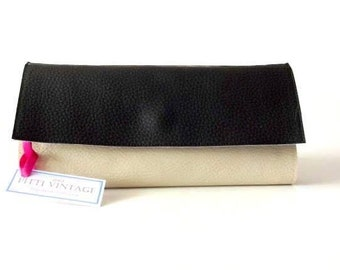 Black and white Wallet - Vegan leather waller - Women's wallet - minimalist wallet - clutch wallet - black wallet - credit card holder