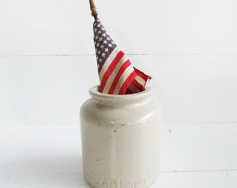 Vintage Lab-Lagny French Mustard Pot, Stoneware Crock, French Country Decor