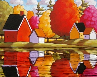 Autumn River Cottages Reflection Art Print, 8x11 Folk Art Fall Cabins Tree Colors Landscape Reproduction Artwork by Cathy Horvath Buchanan