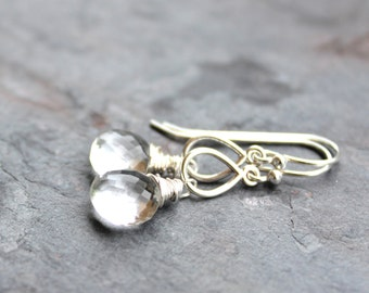 Teardrop Crystal Quartz Earrings Clear Stone Earrings Sterling Silver Wire Wrapped