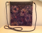 "Black and Coral Floral Batik Quilted Snap Bag Purse Handbag Handmade 7-1/2"" x 8-1/2"""