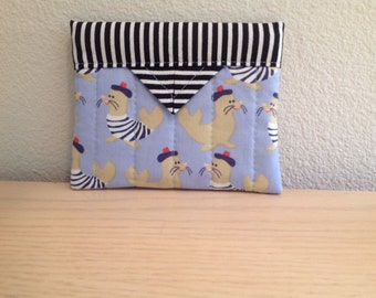 """French Seals Quilted Fabric Mini Snap Bag Purse Organizer 5"""" x 4"""""""