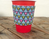 Hearts and Floral Coffee Cozy Reversible  Cup Cozy Smoothie To Go Cup Valentines Day Gift