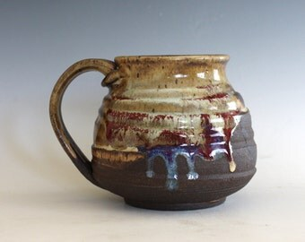 19 oz Coffee Mug, handthrown ceramic mug, stoneware pottery mug, unique coffee mug