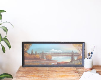 vintage panoramic mountainscape painting
