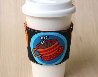 Reversible Coffee Cup Sleeve - Coffee Cups with Orange Coffee Cozy - Ready to Ship