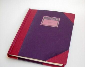 Red and Purple Journal, Hardcover Journal, Grunge Journal, Handmade Diary