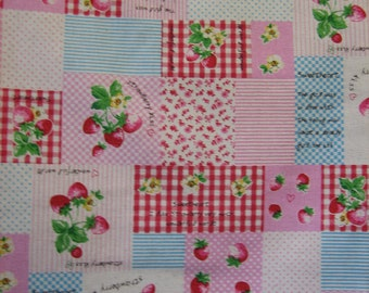 Imported fabric Strawberry Patchwork print One meter ( 39 x 43 inches )