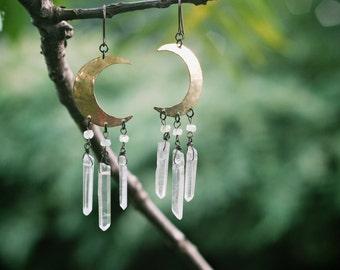 SALE!!  Crescent Moon Crystal Earrings