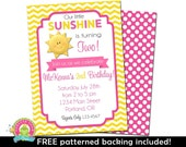 You Are My Sunshine Birthday Invitation - You are My Sunshine Party - Sunshine Party Invite - Sunshine Invitation - Girls Birthday