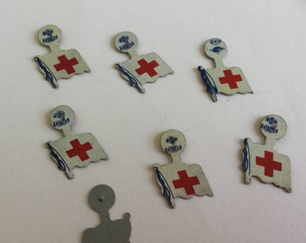 Lot 7 Red Cross vintage pins from 1930-NOS